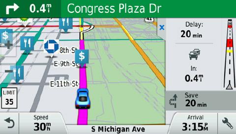 Garmin DriveSmart 70LMT pranešimai apie kamščius