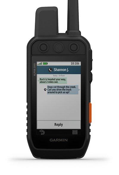 """Delninio įrenginio """"Alpha 200i"""" žinučių ekranas"""
